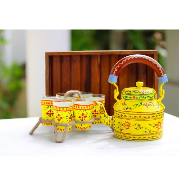 Handpainted Kettle Set 5158-S With 6 Glass & 1 Trey