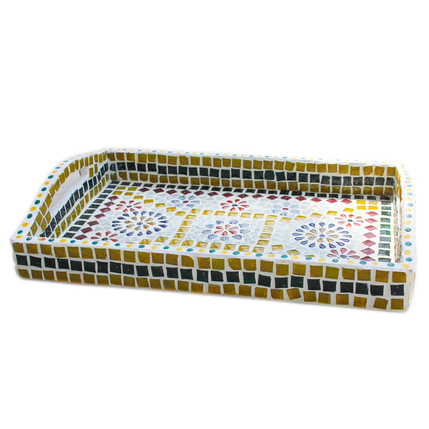 Ihandikart Handicrafts Hand Crafted Decorative Mosaic Mdf Wooden Serving Tray Size 14x9 Inch For Office Home And Table Decor Ihandikart Com