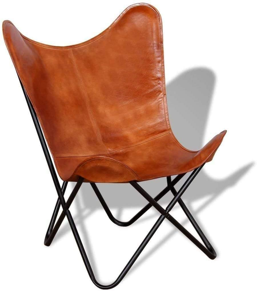 Tuzech Brown Leather Butterfly Chair
