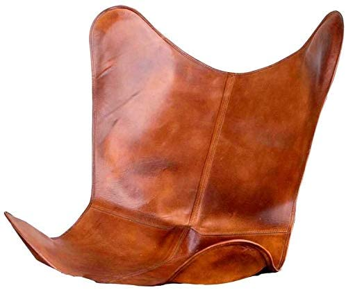 Brown Leather Butterfly Chair Cover