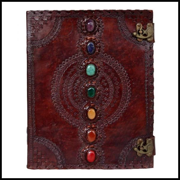 Leather Journal Seven Stone Embossed Notebook